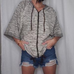 Mossimo woven tweed short sleeve hoodie